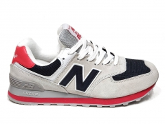 New Balance 574 Light Grey/Navy/Red