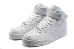 Nike Air Force 1 Mid white зимние кроссовки (натур.мех)