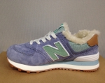 New Balance 574 Purple/Green (натур. мех)