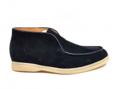 Loro Piana Desert Open Walk Black Suede/Gum