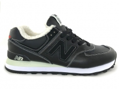 New Balance 574 Leather Black/White (с мехом)