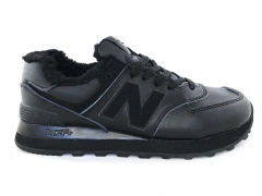 New Balance 574 Leather All Black (с мехом)