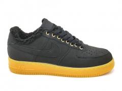 Nike Air Force 1 Low Black/Gum (с мехом)