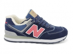 New Balance 574 Dark/Blue/Red (натур.мех)