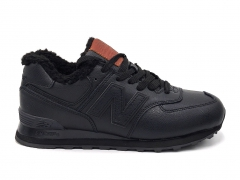 New Balance 574 Premium Leather Black/Brown (с мехом)