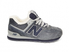 New Balance 574 Grey/Blue Suede (с мехом)