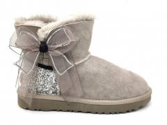 UGG Boot Bling With Bow Grey (натур. мех)