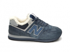 New Balance 574 Suede/Leather Ocean Navy (с мехом)