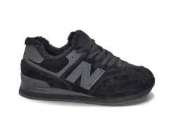 New Balance 574 Suede Black/Wool (с мехом)