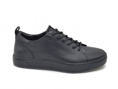 Ecco Soft 6 Leather Low Sneaker All Black