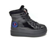 Moncler Platform Sneakers Polished Leather Black (натур. мех)