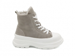 UGG High-top Sneakers Suede Beige/White (натур. мех)