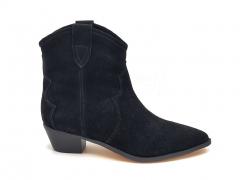 Казаки Isabel Marant Dewina Boots Black Suede (натур. мех)