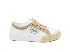 Prada Cotton Canvas Sneakers White/Beige