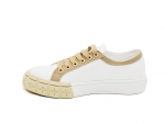 Prada Cotton Canvas Sneakers White/Beige