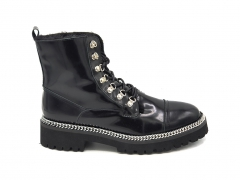 Balmain Ranger Army Shiny Leather Ankle Boots Black (натур. мех)
