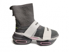 Balmain B-Bold Knit High-Top Sneakers Grey/White/Pink