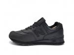 New Balance 574 Low Black Leather (с мехом)