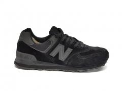 New Balance 574 Low Black Suede (с мехом)