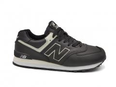 New Balance 574 Black/White Leather (с мехом)