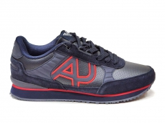 Armani Jeans Sneakers Navy/Red Leather