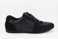 Philipp Plein Lo-Top Sneakers Black Leather/Suede