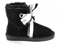 UGG Kallen Bow Slippers Black (натур. мех)