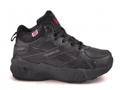 Reebok Classic Mid Leather All Black R19 (с мехом)