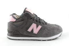 New Balance 574 Mid Dark Grey/Pink (с мехом)