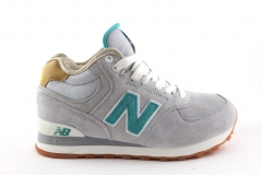New Balance 574 Mid Grey/Mint (с мехом)