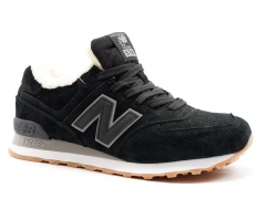 New Balance 574 Black/White Suede (с мехом)
