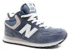 New Balance 574 Mid D19 Suede Blue/White (с мехом)