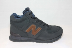 New Balance 574 High Navy/Brown (натур. мех)