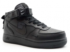 Nike Air Force 1 Mid '07 LV8 All Black (с мехом)
