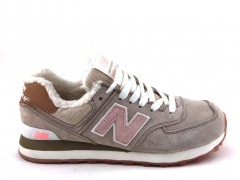 New Balance 574 Low Beige/Pink Suede (с мехом)