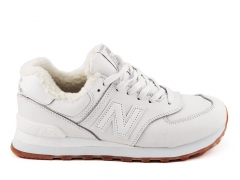 New Balance 574 Low White (с мехом)