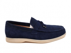 Loro Piana Moccasin Summer Walk Navy Suede